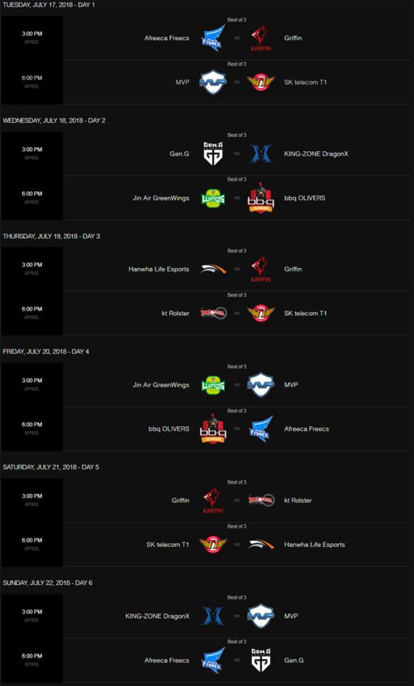 Lịch thi đấu LCK mùa hè 2018 tuần 5