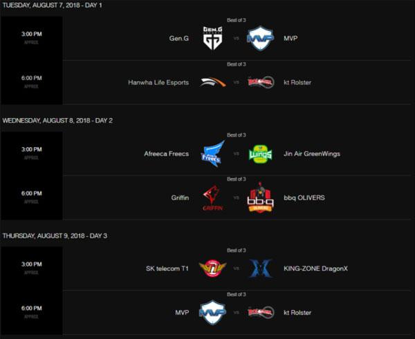 Lịch thi đấu LCK mùa hè 2018 tuần 8