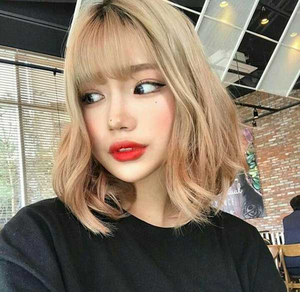tóc ngắn mái thưa 2019